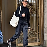 Making a crewneck so much cooler with Isabel Marant sneakers and track pants.