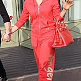 Jennifer Lopez wore an all-pink outfit while shopping.