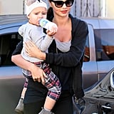 Miranda Kerr sported a pair of sunglasses in Beverly Hills with Flynn Bloom.