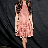 The sienna color of this girlie Azzedine Alaia dress and Brian Atwood platforms is rosy perfection for Megan Fox.