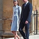 Kate Middleton Blue Coat on Easter 2019
