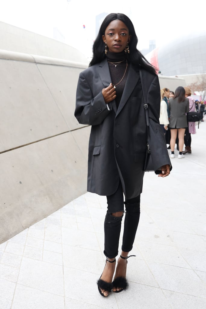With a pair of skinny jeans, there's no unwanted bulk in your silhouette, so it's just the opportunity to rock that oversize blazer you've been eyeing without stressing about how one piece will layer over the other.