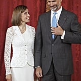 The King and Queen of Spain shared a laugh at the Royal Palace in July.