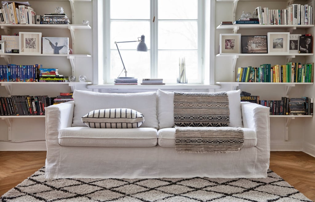 Pictured: Bemz Cover For Karlstad 3 Seater Sofa Loose Fit Urban In Absolute  White Rosendal