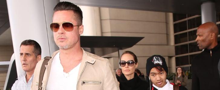 Angelina Jolie, Brad Pitt, and Maddox at LAX