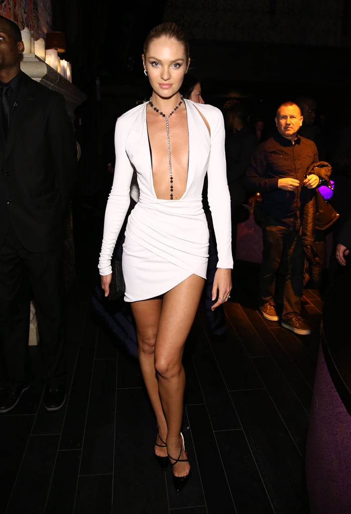 Candice Swanepoel wasn't afraid to show some skin in her daring white minidress by Alexandre Vauthier.