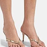Gianvito Rossi Calypso Metallic Leather Thong Sandals
