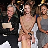 Rosie Huntington-Whiteley and Zoe Saldana sat front row at Michael Kors with Michael Douglas.