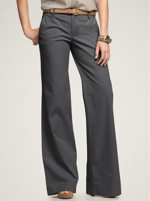 Imagine these slate gray wide-legs with a hot pink or neon yellow tank and wedges — nice! Gap Perfect Khaki Pants, ($50)