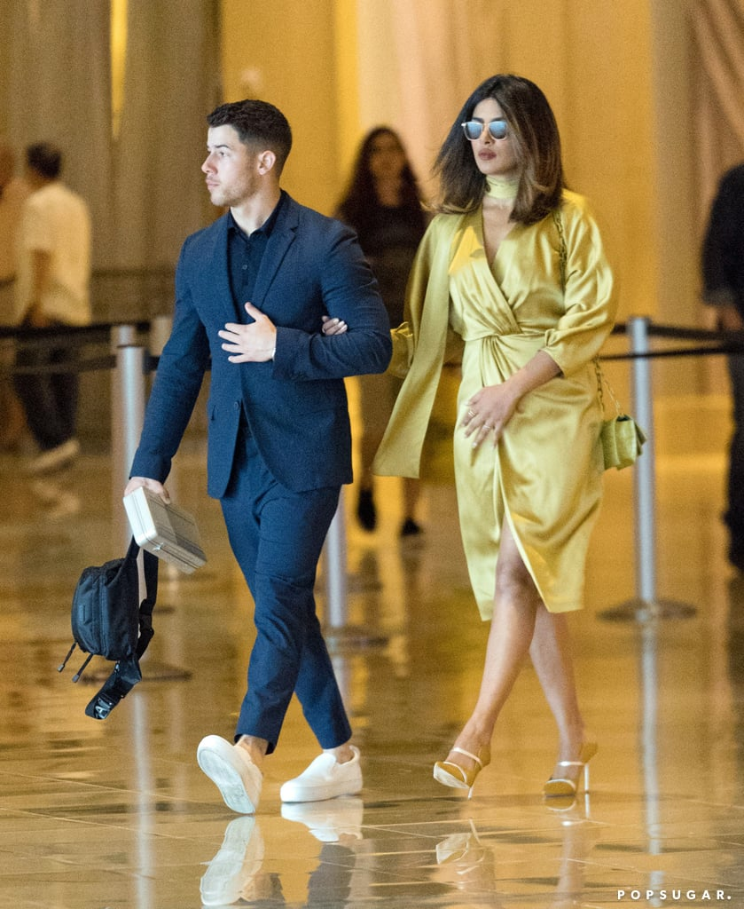 Priyanka Chopra Gold Dress in Atlantic City With Nick Jonas