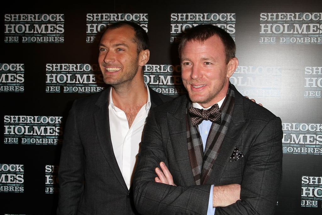 Jude Law and Guy Ritchie reunited for the premiere of Sherlock Holmes in Paris on Jan. 19.
