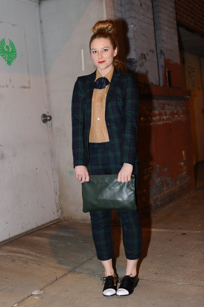 This sweet plaid suit was made all the more dapper with cap-toe oxfords and a tie.