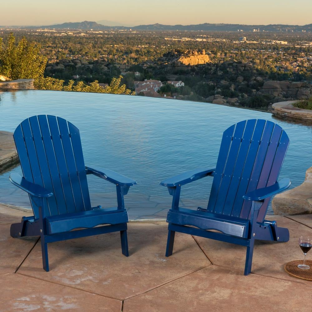 Noble House Haylee Navy Blue Reclining Wood Adirondack Chairs