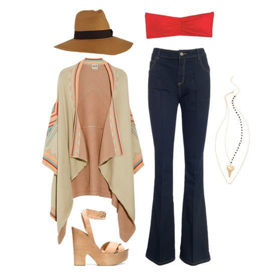 Bring a bit of a boho vibe to a cropped bandeau by pairing it with flared high-waisted jeans and a floaty printed cardigan. Add accessories like wooden wedge heels, layered pendant necklaces, and a floppy sun hat for a chic day at the flea market.  Get the Look:  Delia's Ruched Bandeau ($10) Heather Hawkins Double Layer Shark Tooth Necklace ($154) Reiss Birkin 1971 Flare Jeans ($170)  Zara Wooden Wedge Shoes ($100) Haute Hippie Patterned Knit Cardigan ($445) Forever 21 Pinched Front Floppy Hat ($13)
