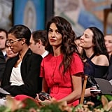 Amal Clooney Red Outfit at Nobel Peace Prize Ceremony 2018