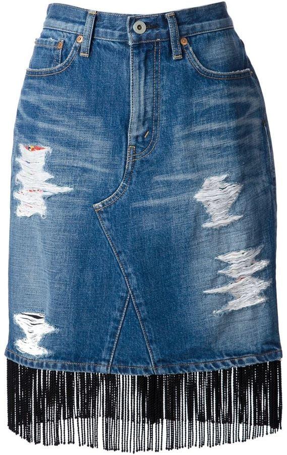 Junya Watanabe Fringed Denim Skirt