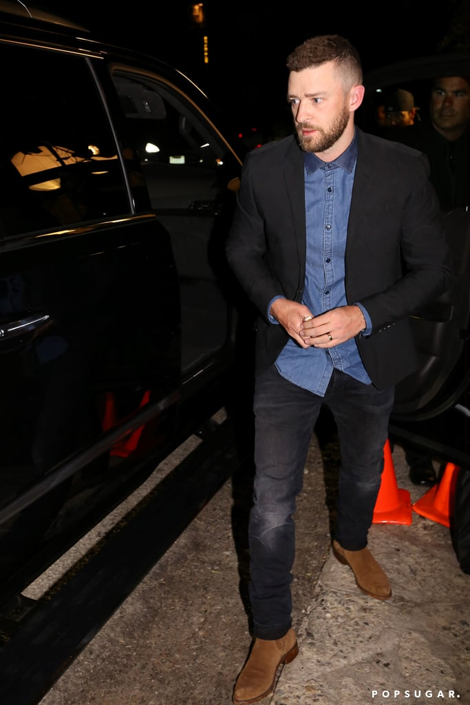 Justin Timberlake and his wife, Jessica Biel, were spotted leaving a pre-Oscars party in West Hollywood, CA, on Friday night. Jessica, who gave us a peek at her midriff in a floral dress, sported a rosy glow complete with a mile-wide smile, while Justin left the bash with a rather interesting accessory: a tray of pizza. Perhaps he needed some food for the road? Earlier in the day, Jessica celebrated the opening of her new restaurant, Au Fudge, where she reunited with her former 7th Heaven costars, Beverley Mitchell, Mackenzie Rosman, Barry Watson, and Catherine Hicks.  On top of Jessica's new business venture, it's quite clear that the couple has been enjoying their time away from the spotlight. Justin performed the Carlton with pal Alfonso Ribeiro at the annual Pro-Am Golf Tournament in Pebble Beach, CA, just a couple of weeks ago, and the pair is constantly sharing cute family moments on Instagram. Keep reading to see more of Justin and Jessica, and then check out all of the times Justin gave all of us tunnel vision.
