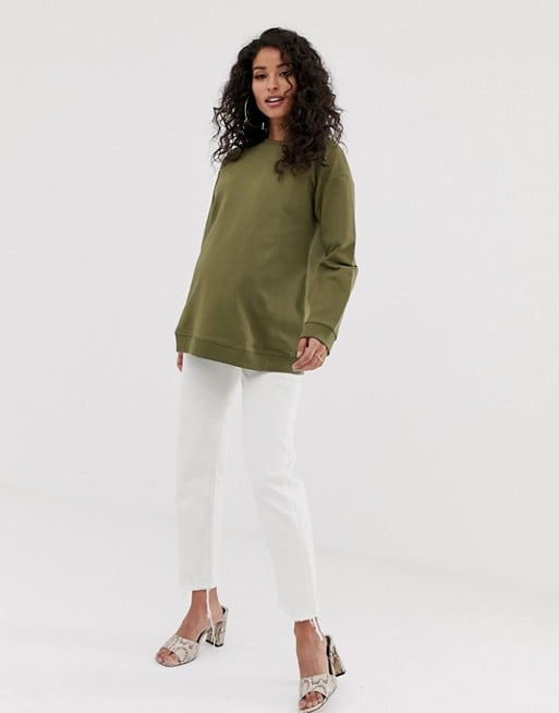 ASOS DESIGN Maternity ultimate sweatshirt in khaki | ASOS