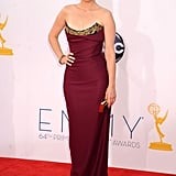 Tina Fey in a Purple Vivienne Westwood Gown at Emmys 2012