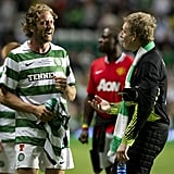 Gerard Butler wore Celtic's green and white jersey.