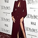 Kendall worked a romantic oxblood Zimmermann gown, showing off her long legs in strappy gold Tom Ford heels.