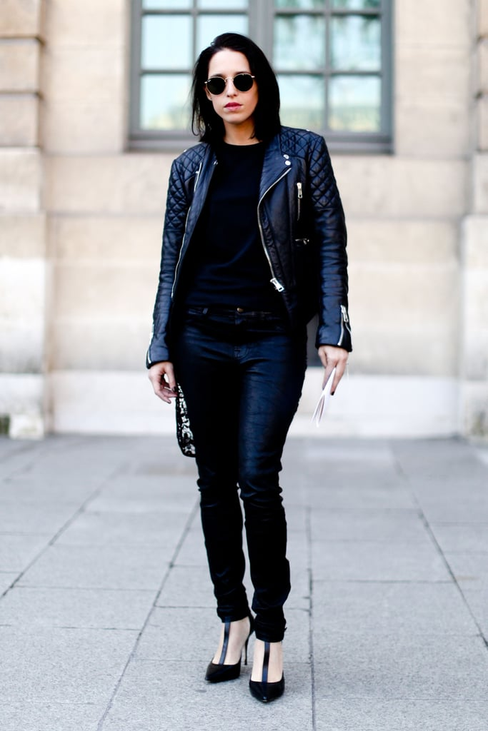 Edged-up street style with leather and heels, all in black.