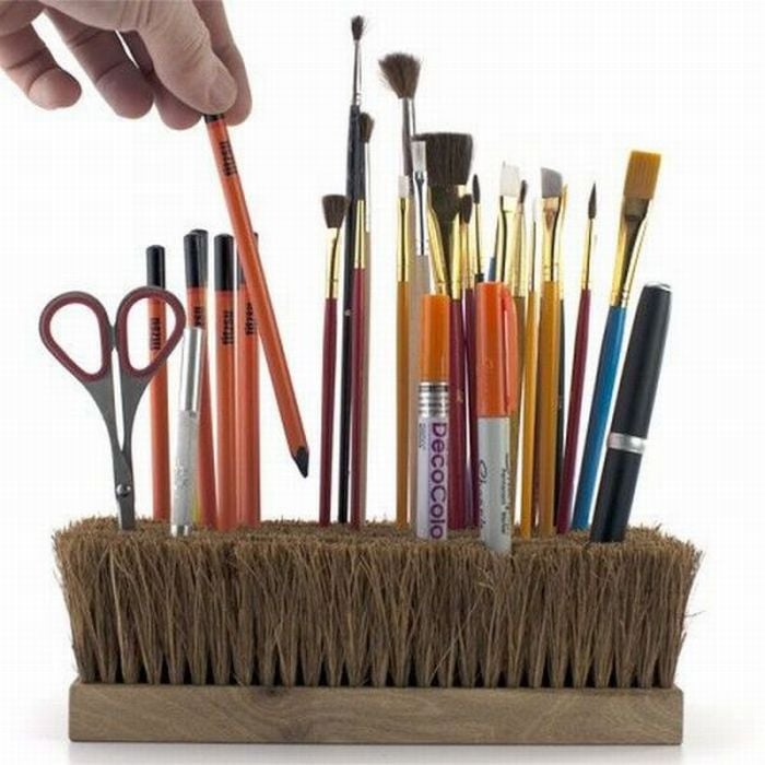 An upturned broom is a unique way to hold all your desk tools. This Office Brush Pen Holder ($60) from Fitzsu will make a clean sweep of your work space's aesthetic.