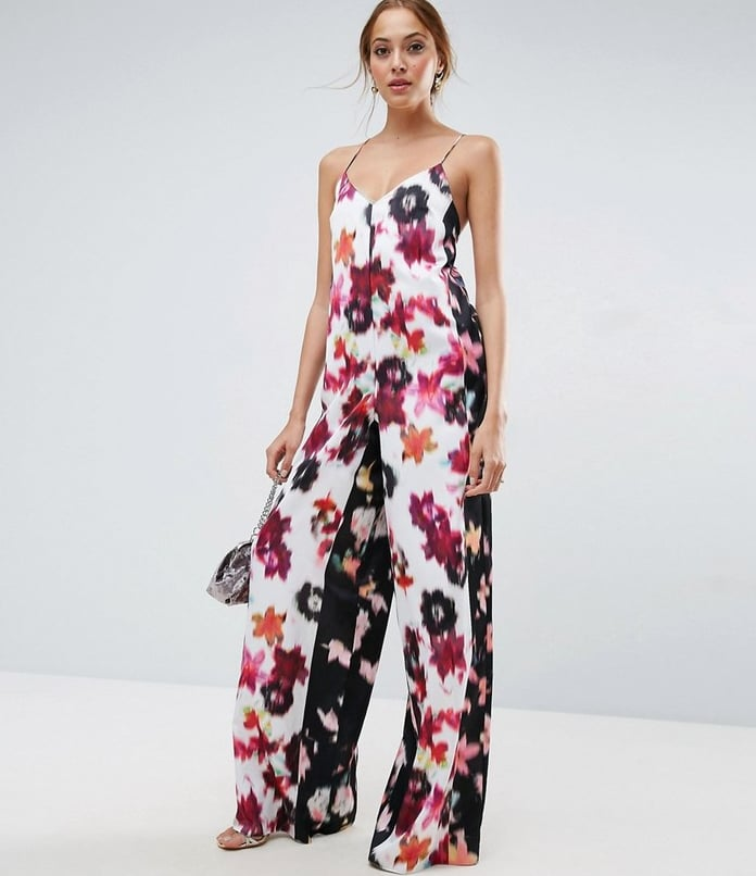 Asos Tall Satin Jumpsuit In Mixed Blurred Floral Print (£45)