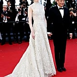 Nicole Kidman accentuated her height and svelte figure in a neutral floral Valentino Couture gown at the Nebraska premiere at Cannes.
