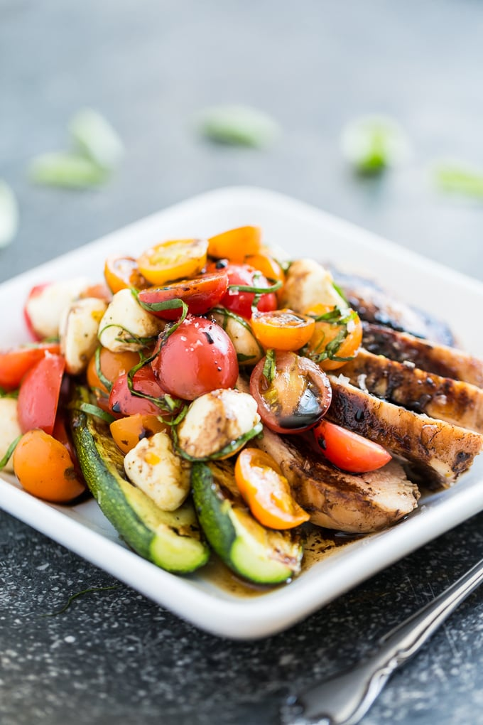 Balsamic Grilled Chicken Caprese Salad