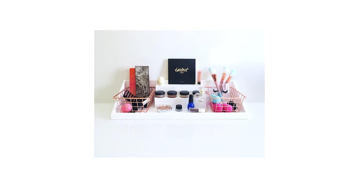 Wall Mounted Makeup Organizer With Rose Gold Storage Bins