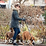 Jessica Biel walked her dogs around NYC.