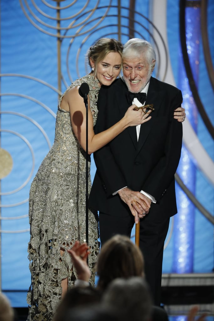 It's a jolly holiday when Dick Van Dyke shows up at the Golden Globes. On Sunday night, the legendary actor made an adorable appearance at the award show as he showcased Mary Poppins Returns alongside his costar, Emily Blunt. As the two made their way on stage, the 93-year-old was met with a standing ovation from the excited crowd. Emily's husband John Krasinski was even spotted cheering from the audience. The Mary Poppins star even made a joke about recognising Carol Burnett during the show.        Related:                                                                                                           There's a Reason Why Dick Van Dyke's Character in Mary Poppins Returns Looks Familiar
