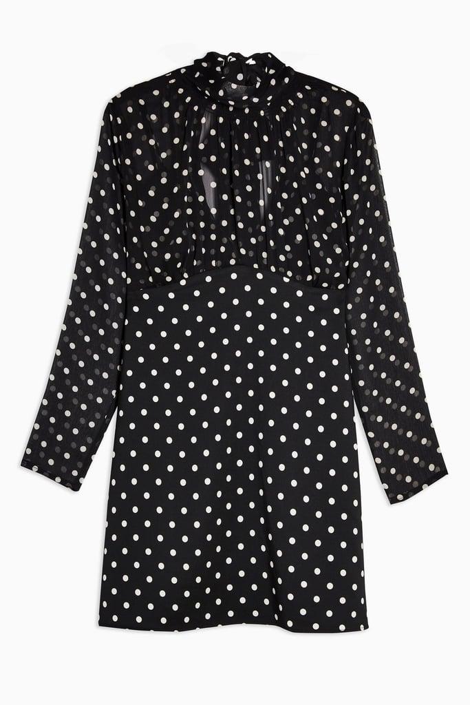 Topshop Black and White Shirred-Neck Spot Mini Dress