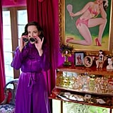 "Dita considers this Art Deco bar one of her most ""treasured possessions."" ""I have way too many martini and Champagne glasses too, as you would guess,"" she added, before offering a closer look at her binocular flask."