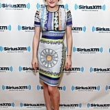 Elisabeth Moss got in on the printed trend in a multicolored scarf-print Clover Canyon dress while visiting the SiriusXM Studios in NYC.