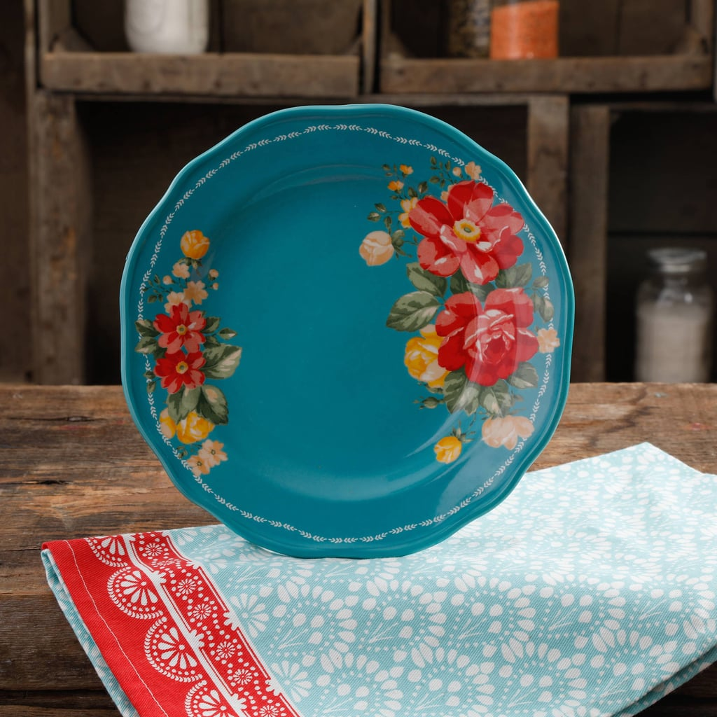 "The Pioneer Woman Vintage Floral 8.5"" Teal Salad Plate ($4)"