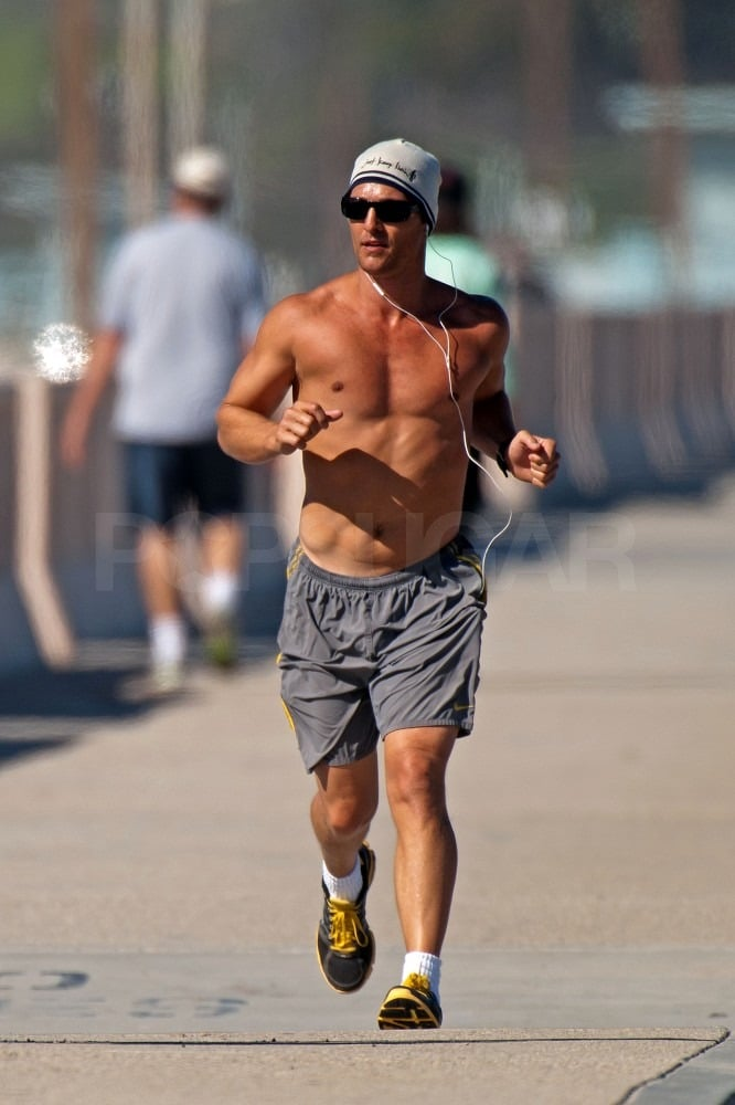 Shirtless Matthew McConaughey Works Hard For His Abs