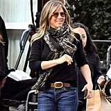 Jennifer Aniston Wearing Orange Tinted Aviators on Set