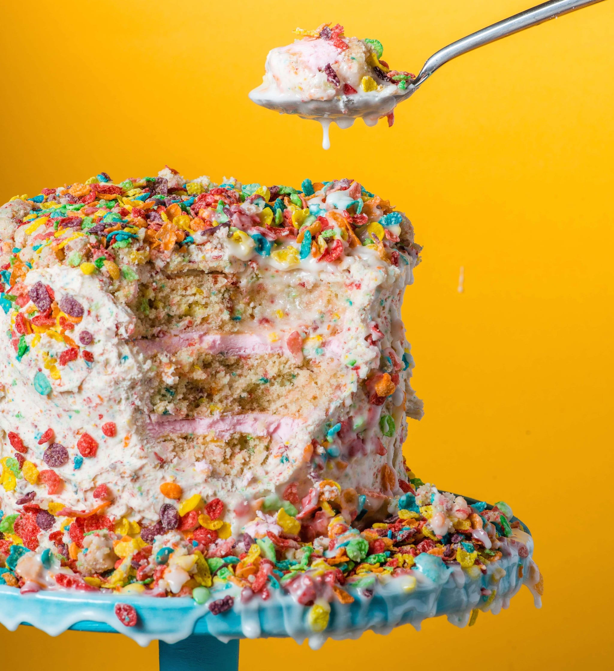 This Fruity Pebbles Cake Is a Whole New Way to Eat Cereal and Milk