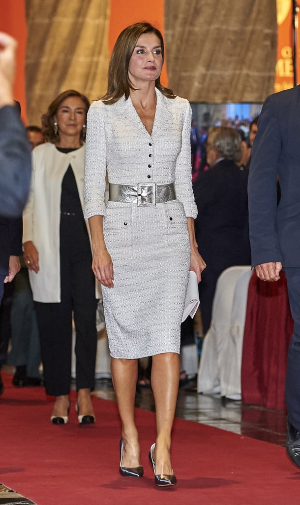 "Queen Letizia traveled to Valencia for the Rey Jaime I Prizes, and to say she stood out among the crowd is an understatement. The Spanish royal rocked a white tweed ensemble from one of her go-to designers, Felipe Varela. She paired her dress with a wide silver belt, which matched perfectly with the metallic thread that ran through the fabric of her dress. Letizia had all of her essentials on hand (including that Felipe Prieto flap leather clutch), but it was her shoes that had us taking in every angle. She wore a pair of pewter Magrit ""Barbara"" heels ($360). They were the perfect finishing touch to her chic look. Keep reading to see her outfit from all angles, and shop the footwear, along with similar options.      Related:                                                                                                           30 Styling Tricks We're Stealing From Queen Letizia and Never Giving Back"