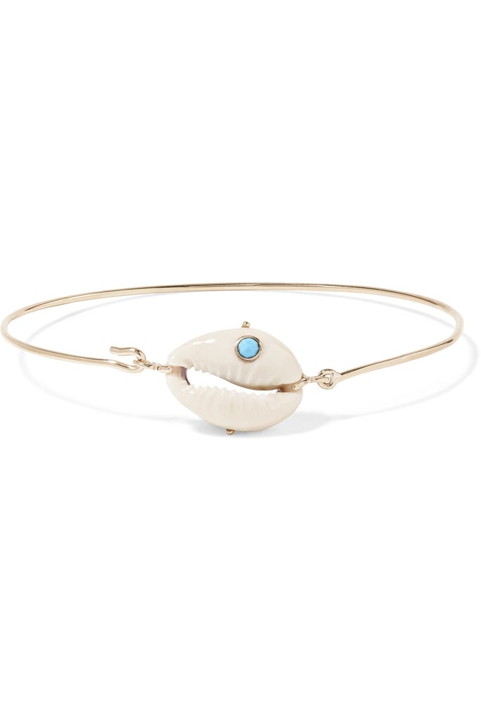 Pascale Monvoisin Cauri 9-karat Gold, Porcelain and Turquoise Bracelet