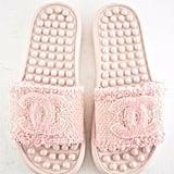 Chanel 18S Pink Coral Tweed CC Logo Mule Pool Slide