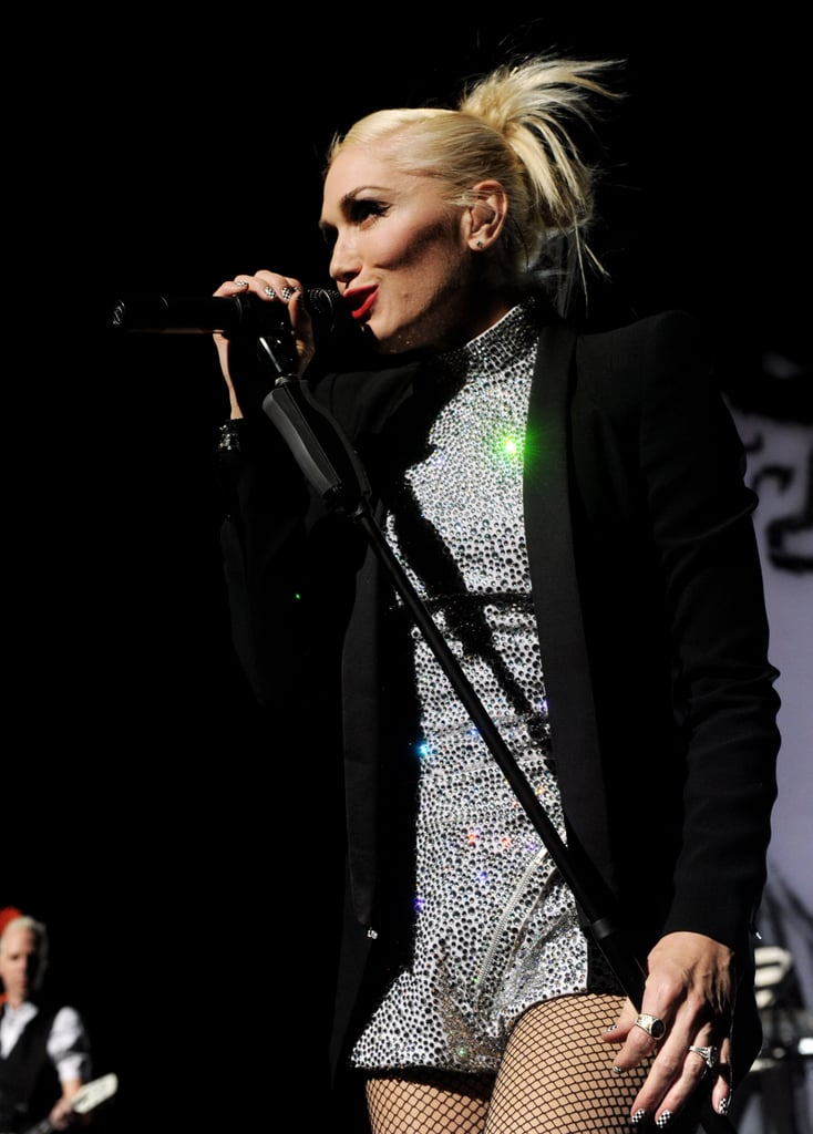 Gwen Stefani sang into the microphone at a show in Universal City.