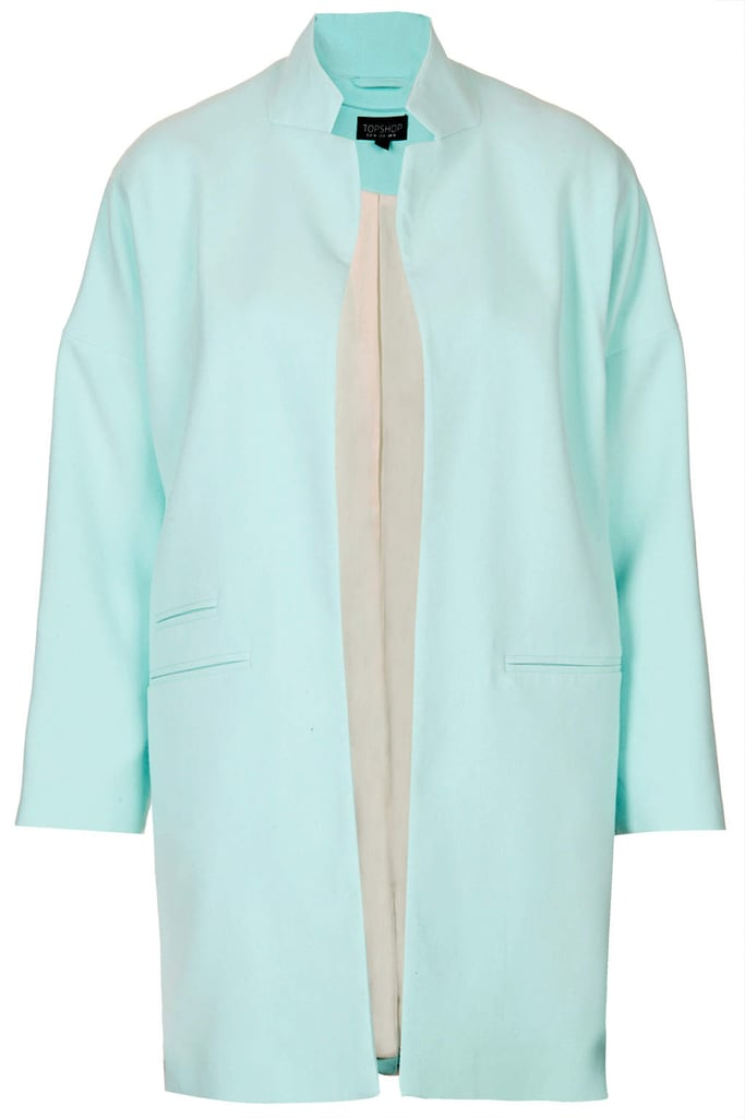 Topshop blue notch-neck throw-on coat ($150)