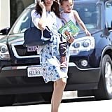 Seraphina Affleck flashed a smile and sported a rainbow t-shirt in Santa Monica.