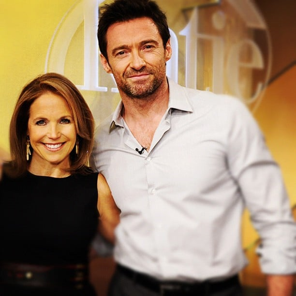 Katie Couric posed with her talk-show guest Hugh Jackman. Source: Twitter user katiecouric