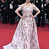 Aishwarya Rai matched her pastel lipstick to her dress at the From the Land of the Moon (Mal De Pierres) premiere.