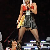Nicki Minaj performed at the Super Bowl in 2012 alongside Madonna and other acts like Cee Lo Green, M.I.A., and LMFAO.