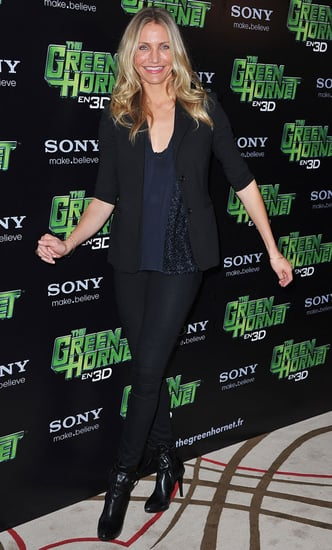 Pictures of Cameron Diaz and Christoph Waltz at a Green Hornet Photo Op in Paris